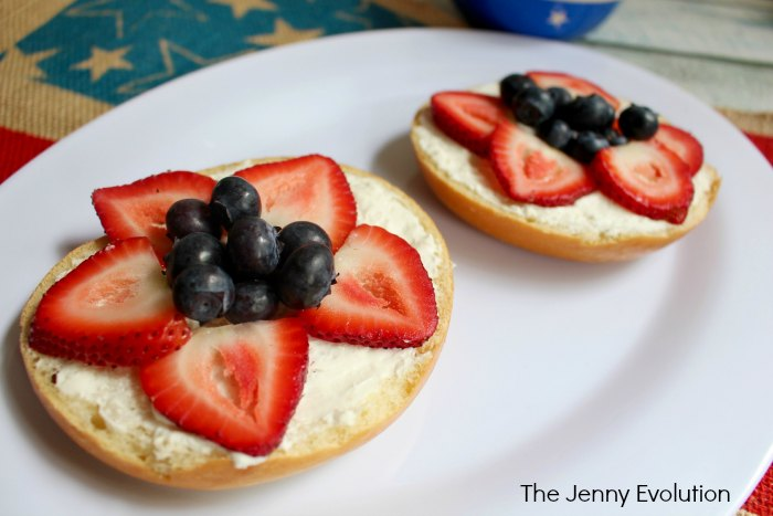 Patriotic Breakfast Ideas: Red White and Blue Bagels for 4th of July