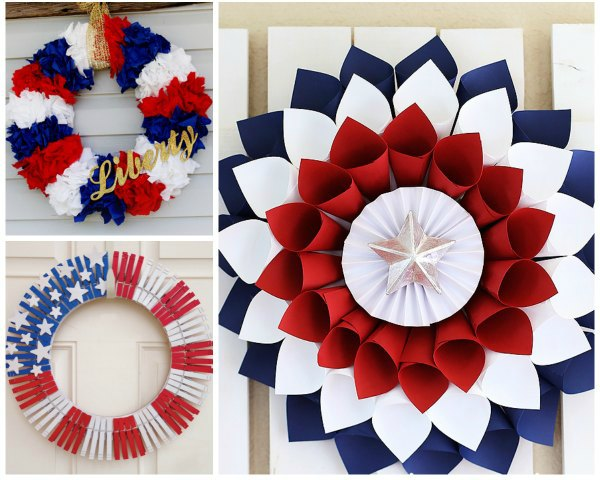 red white blue front door wreaths