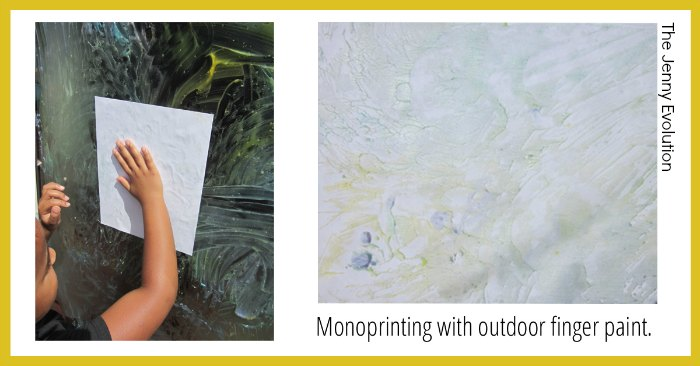 Monoprinting with outdoor finger paint