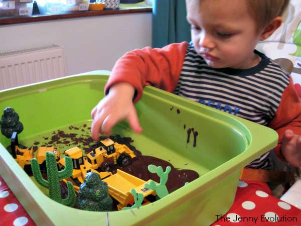 Dinosaur Construction Sensory Bin with Food Items | The Jenny Evolution