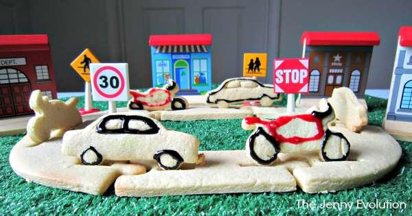 Edible Car Track Sensory Fun (Food Sensory Bins) | The Jenny Evolution