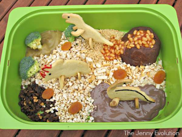 Edible Dinosaur Sensory Play (Food Sensory Fun) | The Jenny Evolution