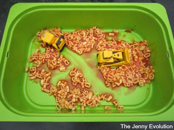 Messy Food Sensory Play! Alphabet Pasta Sensory Bin | The Jenny Evolution