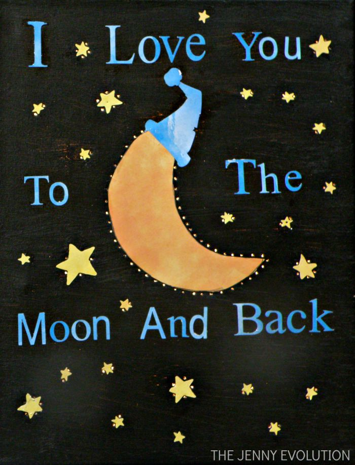 DIY Baby Room: Make an Adorable Moonlight I Love You Nightlight Canvas