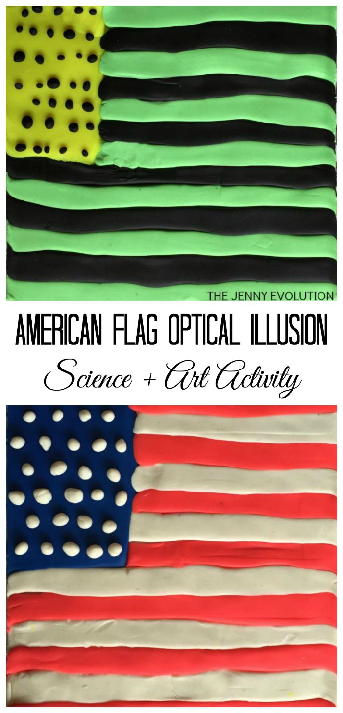 flag illusion optical american science activity evolution activities july 4th memorial stem patriotic illusions experiments fun play mommy projects preschool