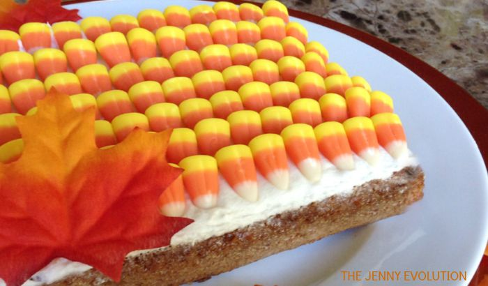 Cake Decorated with Candy Corn. Simple but POPS | The Jenny Evolution