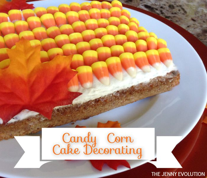 Sweet, simple and a serious pop of color! Candy Corn Cake Decorations | Mommy Evolution