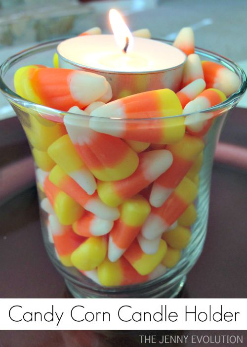 Simple Halloween & Thanksgiving Decorations! Candy Corn Candle Holder | Mommy Evolution