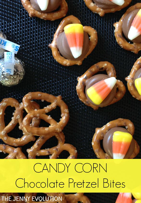 Candy Corn Chocolate Pretzel Bites Recipe | The Jenny Evolution