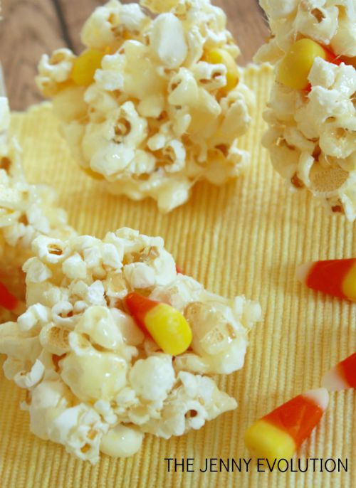 Candy Corn Popcorn Balls Recipe | Mommy Evolution