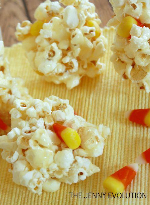 Candy Corn Popcorn Balls Recipe | The Jenny Evolution