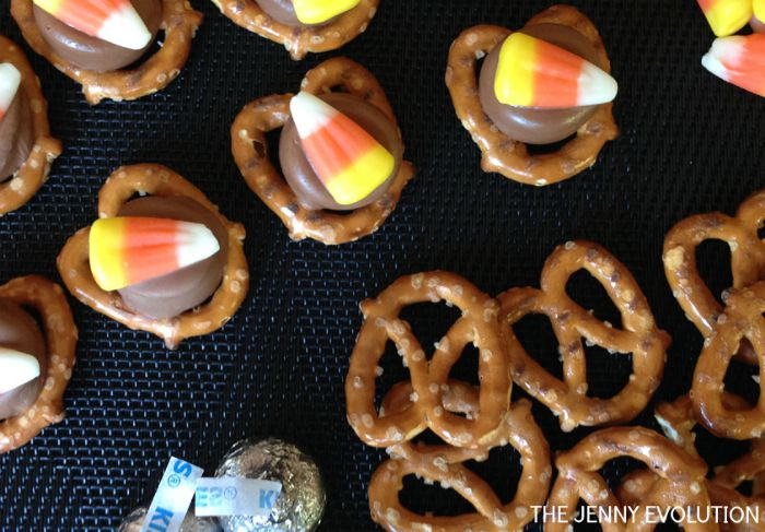 Chocolate Candy Corn Pretzel Bites