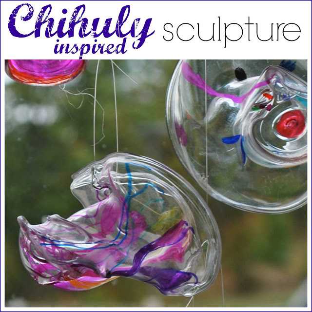 Chihuly-Inspired Sculpture for Kids. Tutorial from Rubber Boots and Elf Shoes