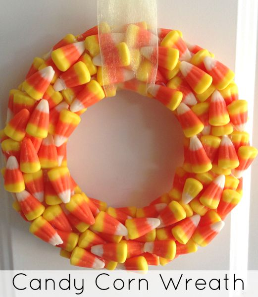 DIY Candy Corn Wreath. Perfect for the Fall or Halloween | The Jenny Evolution