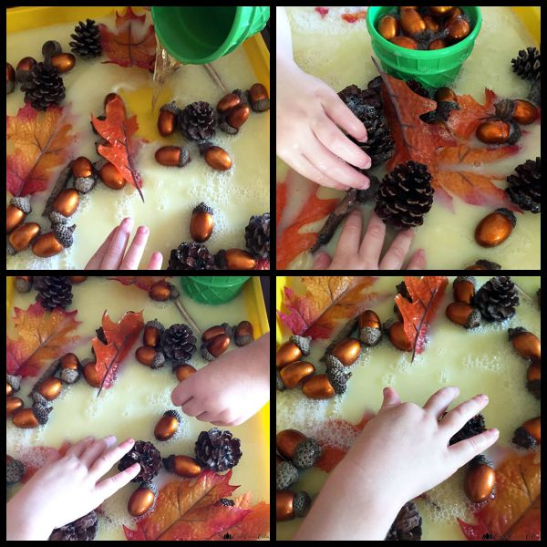 Fall Sensory Play Bin with Leaves and Acorns | The Jenny Evolution