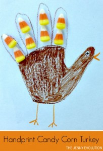 Handprint Candy Corn Turkey Craft for Kids. Perfect for Thanksgiving! from The Jenny Evolution