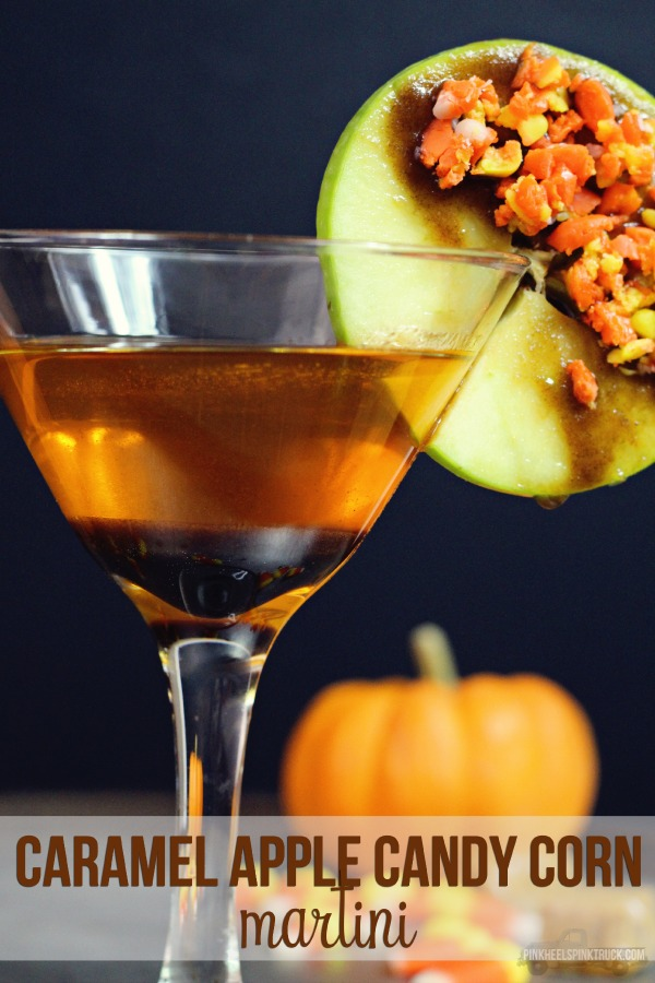 Caramel Apple Candy Corn Martini Recipe from Pink Heels Pink Truck