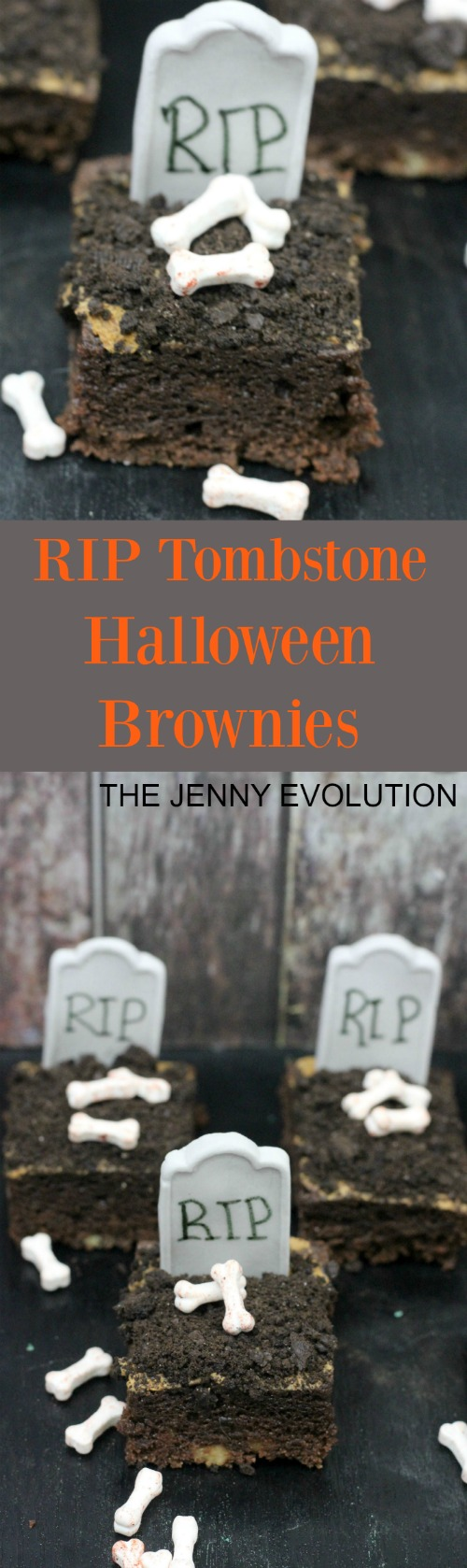 RIP Tombstone Halloween Brownies Recipe | The Jenny Evolution