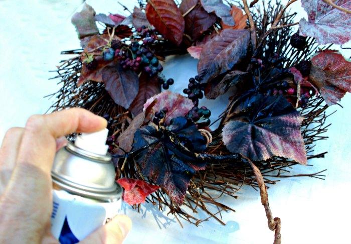 spray paint the wreath