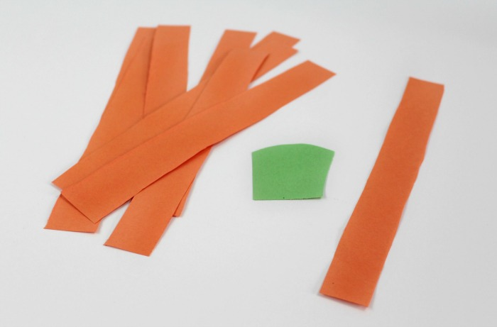 3 cut your strips paper and a green stem for the pumpkin