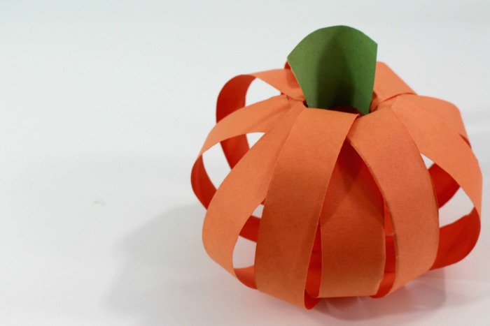 8. add the stem! final horizontal photo of finished paper pumpkin craft