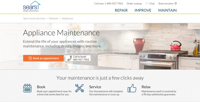 Appliance Maintenance Screen Shot