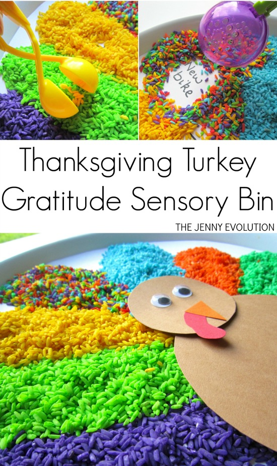 Thanksgiving Turkey Gratitude Sensory Bin | Mommy Evolution