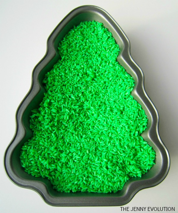 Coloured rice Christmas Tree