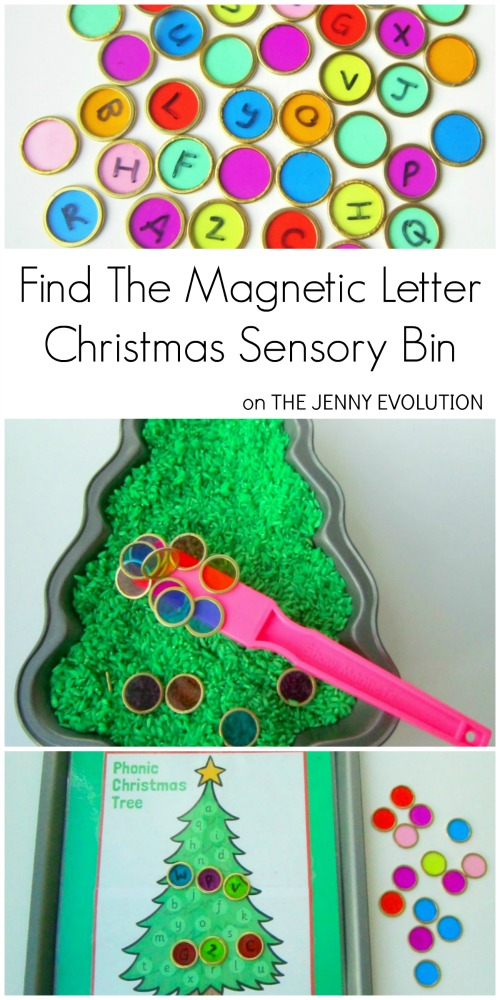 Find the Magnetic Letter Christmas Sensory Bin | Mommy Evolution