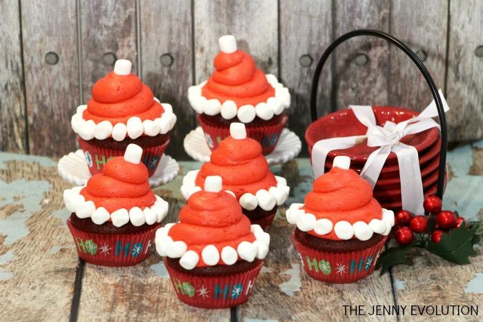 Santa Hat Cupcake Tutorial