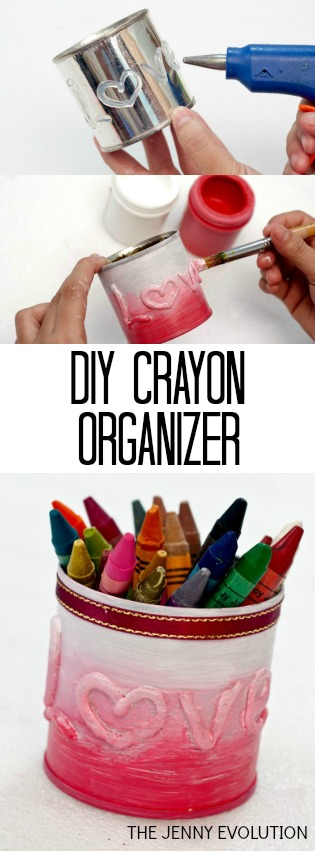 DIY Upcycled LOVE Crayon Organizer