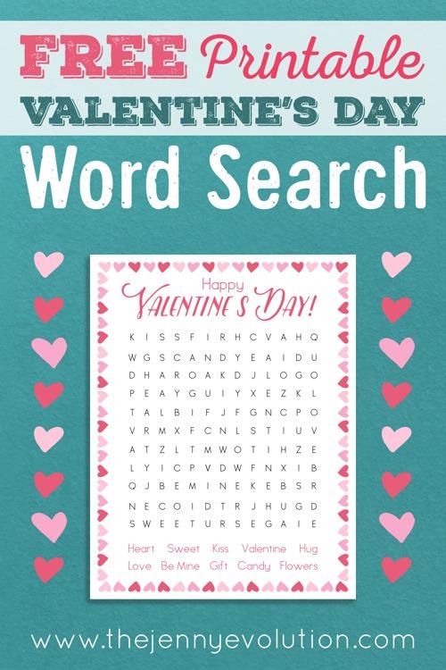 FREE Printable Kids Valentine Word Search | The Jenny Evolution