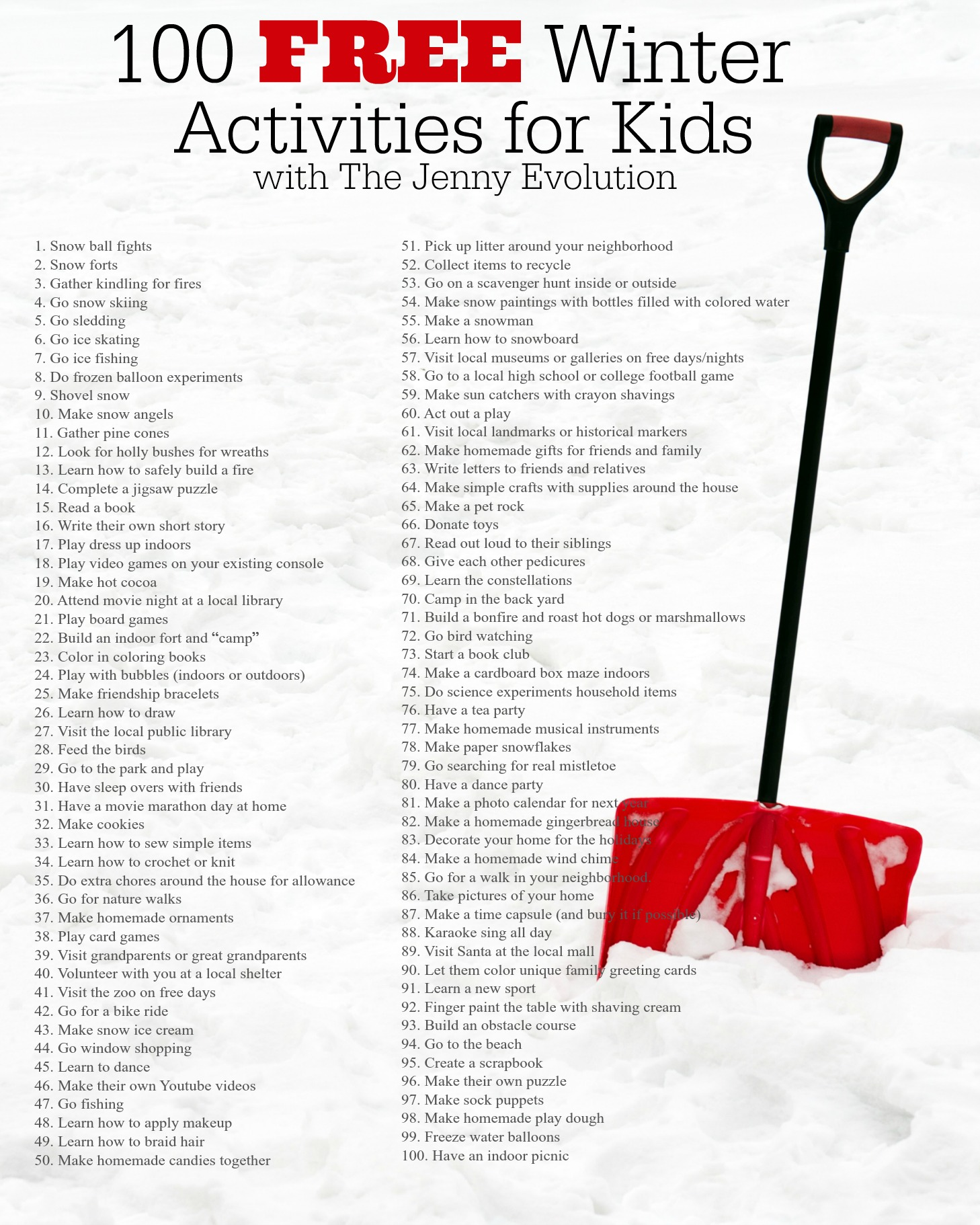 100 Free Winter Actvities for Kids Printable