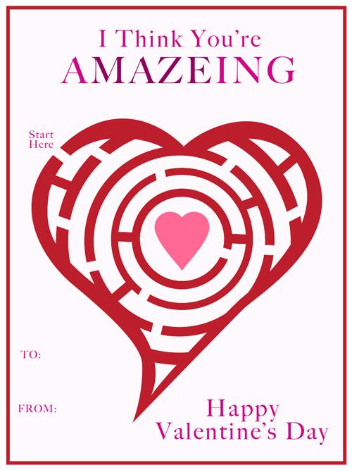 Free Valentines Cards - Maze Classroom Valentine