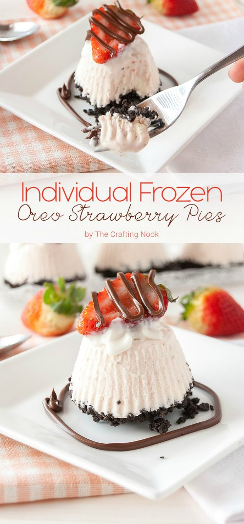 Individual Frozen Oreo Strawberry Pies Recipe from The Crafting Nook