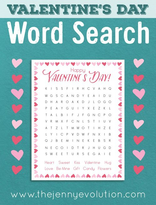 Valentine's Day Word Search for 1st, 2nd and 3rd grade.