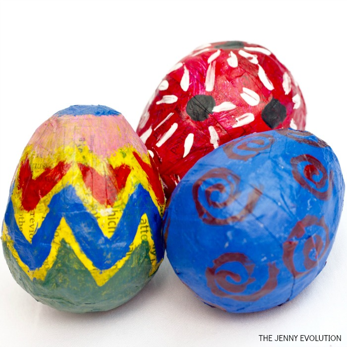 Completed DIY Paper Mache Easter Eggs