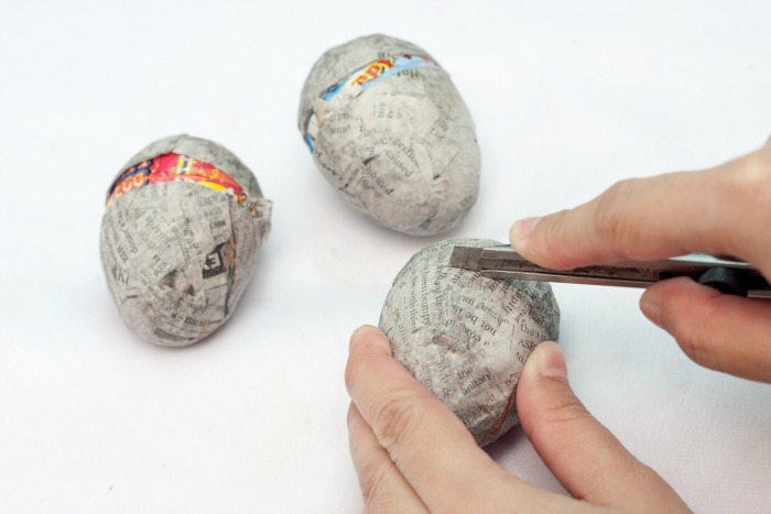 Cut open paper mache Easter eggs