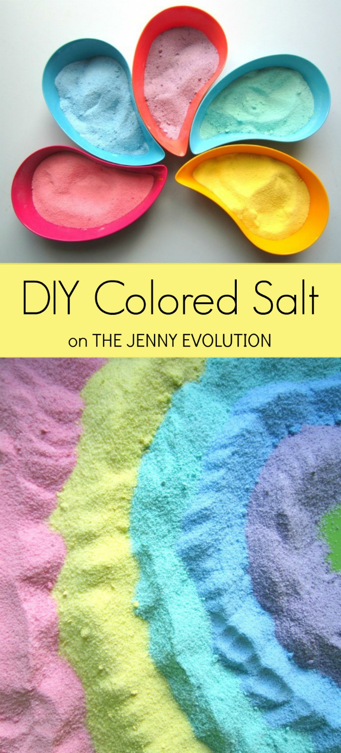 DIY Colored Salt for Sensory Bins | Mommy Evolution