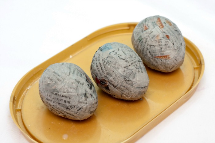 Eggs covered in paper mache