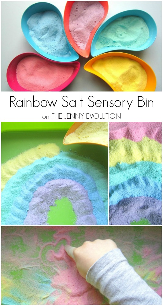 Rainbow Salt Sensory Bin - Fun for Spring and St. Patrick's Day