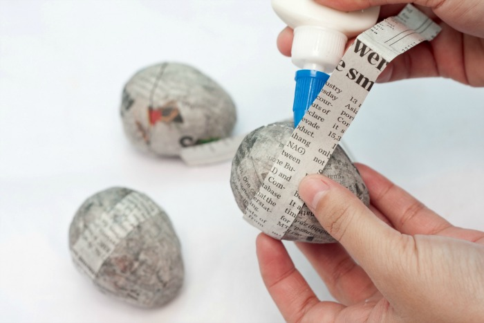 Reseal eggs with strip of newspaper