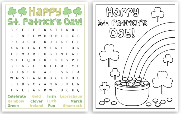 Free St Patrick's Day Word Search Puzzles | The Jenny Evolution