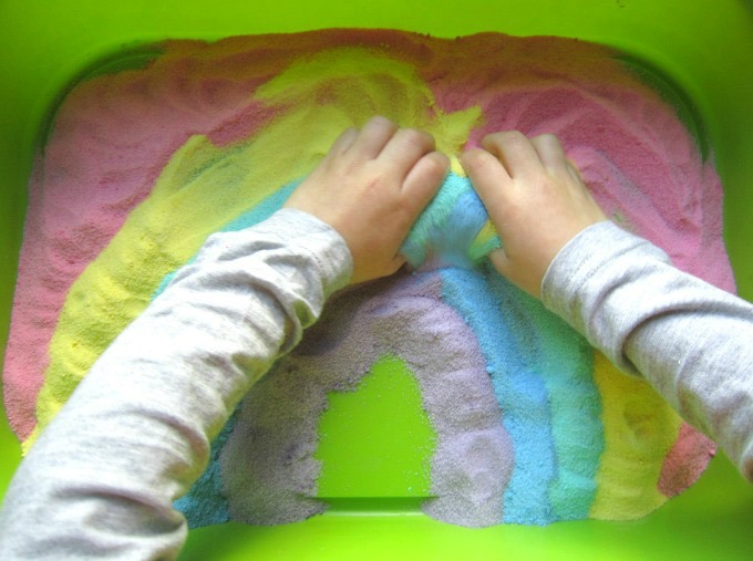 Toddler rainbow sensory bin