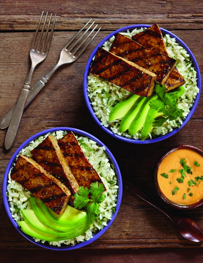 Grilled Balsamic Tofu Recipe with Cauliflower Cilantro Rice and Avocado. A yummy vegetarian meal with zing.