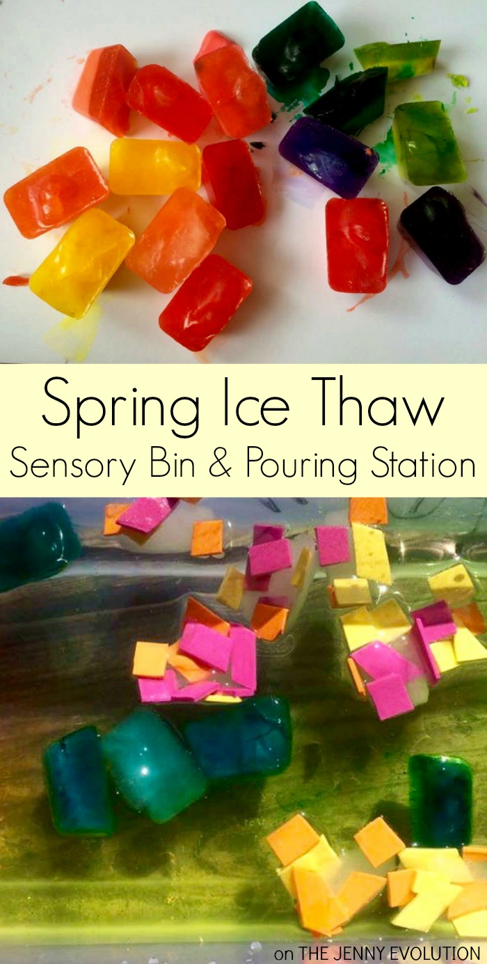 Ice Thaw Spring Sensory Bin and Pouring Station