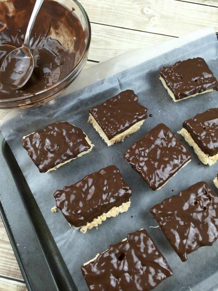 Samoas Rice Krispies Dip into Chocolate