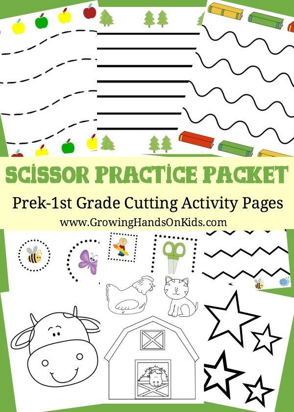 Scissor Practice Packet: Pre-K thru 1st Grade Cutting Activity Pages