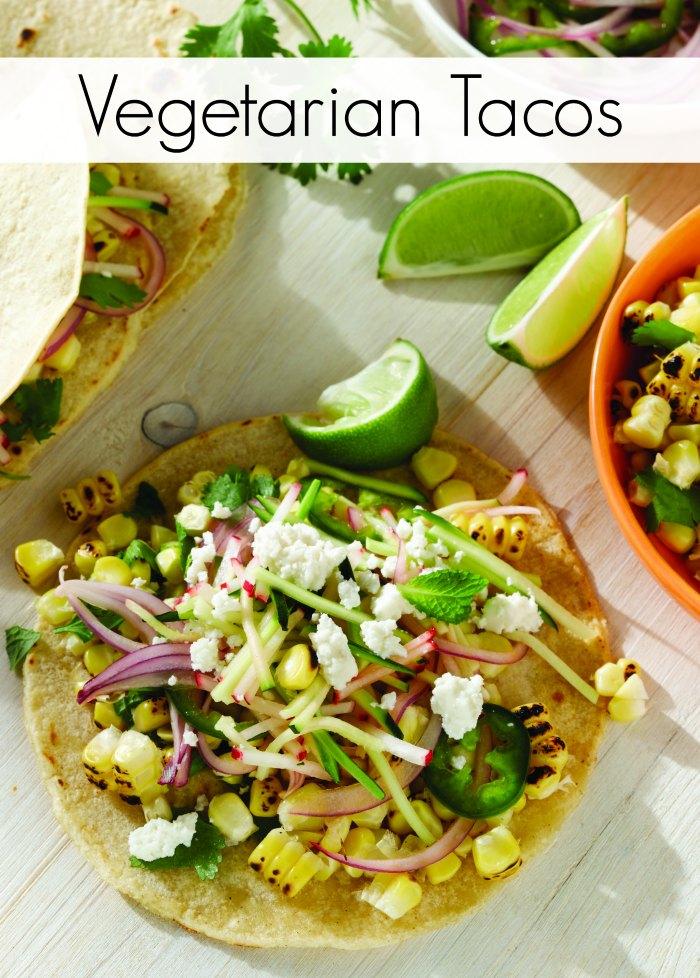 Charred Corn Veggie Tacos with Radish Zucchini Slaw