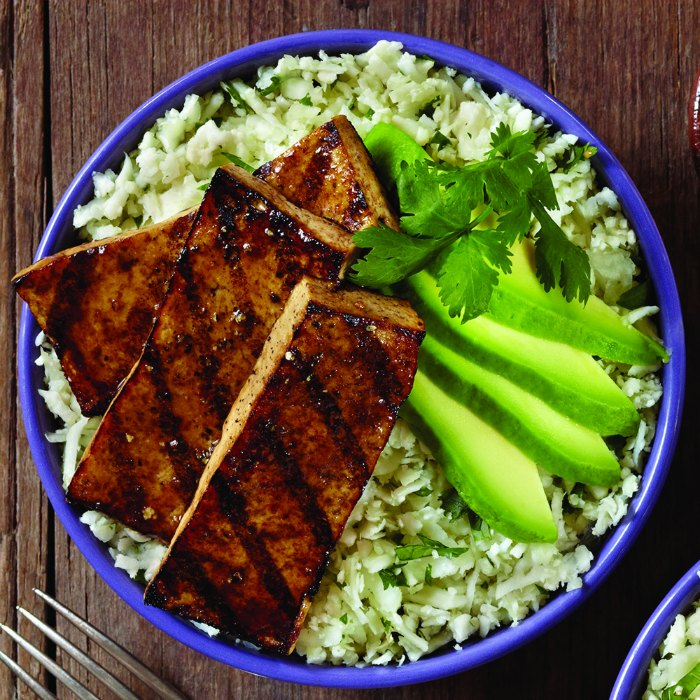 Grilled Balsamic Tofu Recipe with Cauliflower Cilantro Rice and Avocado